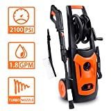 LINLUX Electric Pressure Washer, 2100 PSI 1.80 GPM, Professional Power Washer Cleaner with Adjustable Spray Nozzle, Extra Turbo Nozzle, Onboard Detergent Tank, Cleaning Brush