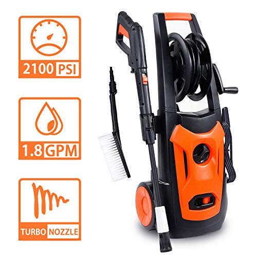 LINLUX Electric Pressure Washer, 2100 PSI 1.80 GPM, Professional Power Washer Cleaner with Adjustable Spray Nozzle, Extra Turbo Nozzle, Onboard Detergent Tank, Cleaning ()