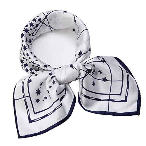 - 100% Mulberry Silk Scarf Square Hair Scarves Fashion Star Neck Scarfs for Women Navy