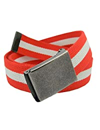 Boys School Uniform Distressed Silver Flip Top Military Buckle with Canvas Web Belt X-Large Red and White Stripe