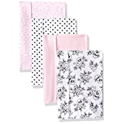 Hudson Baby Baby Flannel Burp Cloths, black/pink floral, One Size