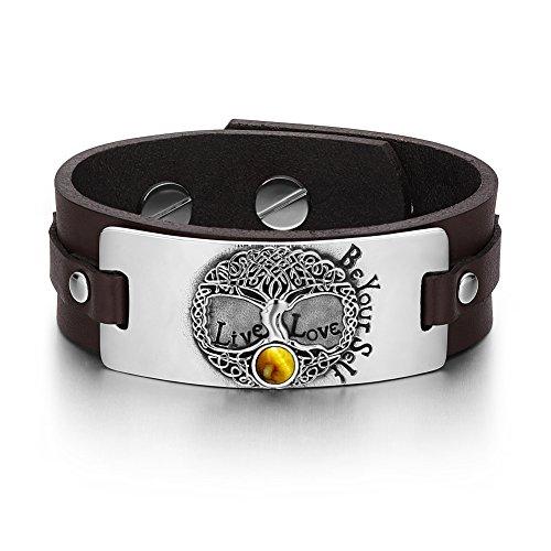 Amulet Eye Tiger (Tree of Life Live Love Be Your Self Celtic Amulet Tiger Eye Gemstone Adjustable Brown Leather Bracelet)