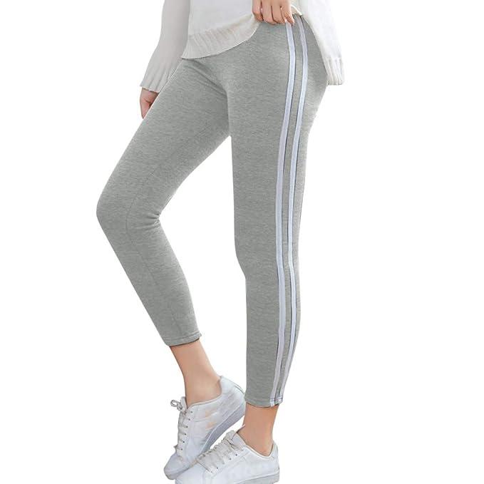 Vectry Pantalones Mujer Raya Printing Elastic Force ...