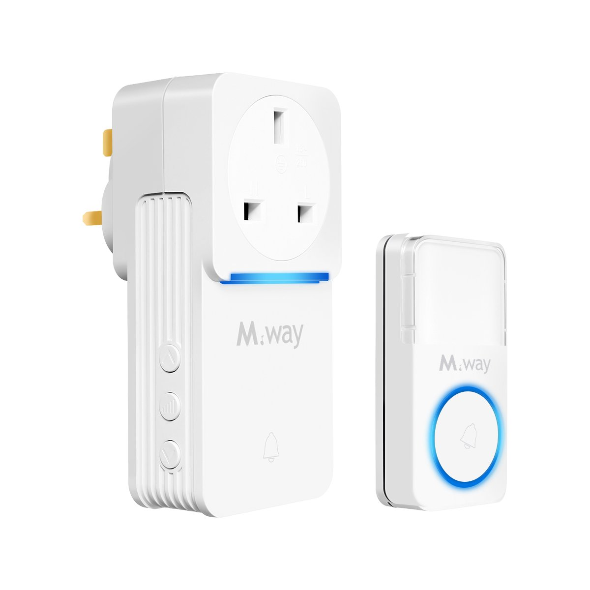 Wireless Doorbell, M.Way Waterproof Plug-through Doorbell Chime Kit Portable Door Bell 280M Remote Range Doorbell with 52 Melody Chime, for Office, Hotel, Home, Store (1 Receiver and 1 Transmitter) UK Luouc jianyu