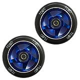 Ten Eighty 100mm Ninja Stunt Scooter Wheels (Pair) - Blue/Black