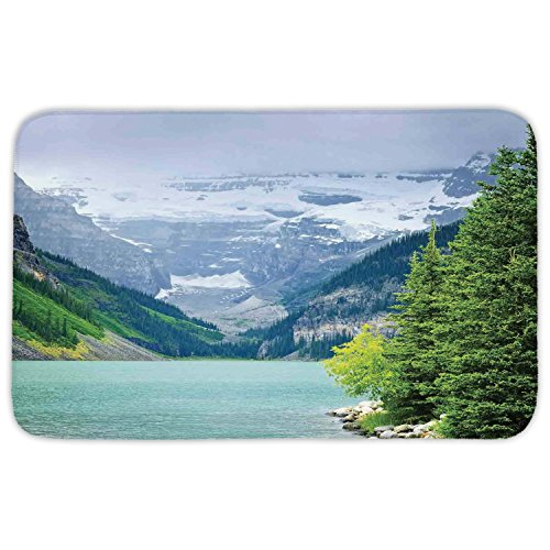 Rectangular Area Rug Mat Rug,Lake House Decor,Landscape of Lake Louise and Mountains with Snows Alpine Trees in Alberta Canada,Green White,Home Decor Mat with Non Slip Backing by iPrint