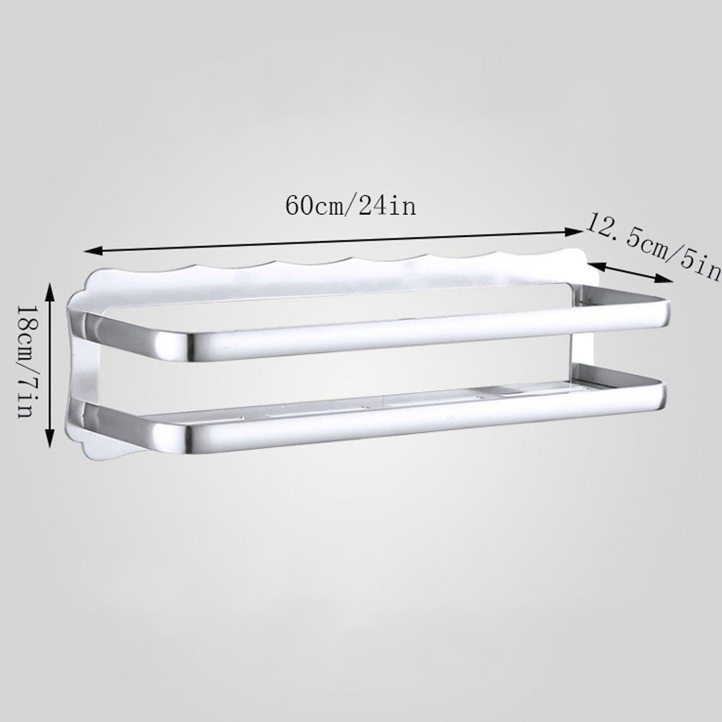 YXN Space Aluminum Bathroom Shelf Bathroom Hardware Accessories Single-layer Cosmetics Wall Mount Bathroom Storage Rack (Size : 60cm)