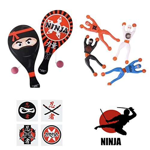 72 Awesome NINJA Birthday Party FAVORS - 12 PADDLEBALL Games - 12 Sticky WALL Crawlers 12 Stickers & 36 TATTOOS - Parties Goodies PRIZES Toys MARTIAL ARTS Judo KARATE]()