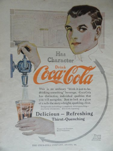 Coca Cola, 1913 Print Ad. Color Illustration (fountian soda) Original Vintage 1913 Woman's World Magazine Print art ***store link [www.amazon.com/shops/ads-thru-time]