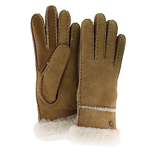 UGG Women's Exposed Waterproof Sheepskin Tech Gloves with Slim Pile Chestnut LG by UGG