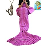 """Kpblis174;Knitted Mermaid Blanket Tail for Kids and Adults,Super Soft and Fashion Sleeping Bags 75""""31""""(Pink)"""