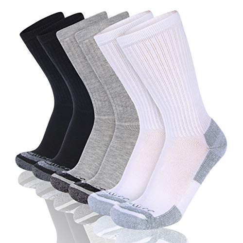 Heatuff Mens 6 Pack Crew Athletic Work Socks With Cushion, Reinforced Heel & Toe For All Seasons
