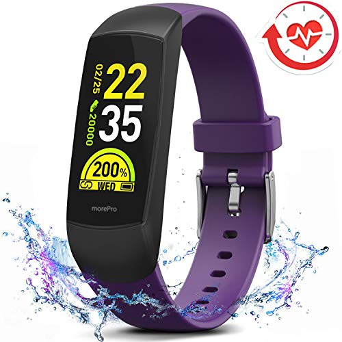 MorePro HRV Fitness Tracker with Heart Rate Blood Oxygen Saturation Monitor SpO2, Waterproof Color Screen Activity Health Trackers with Sleep Tracking Calorie Step Counter Pedometer for Women and Men ()