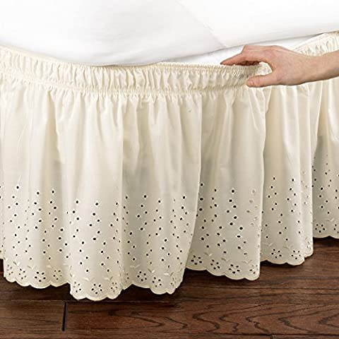 Eyelet Floral Scalloped Elastic Bed Wrap Around, Easy Fit, Dust Ruffle Bedskirt, Ivory, Queen/King