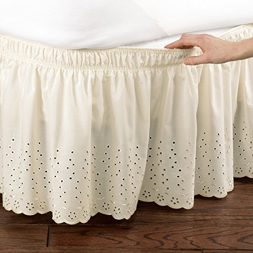 Collection Dust Ruffle - Collections Etc Eyelet Floral Scalloped Elastic Dust Ruffle Bed Skirt, Wrap-Around Easy Fit Design, Ivory, Twin/Full