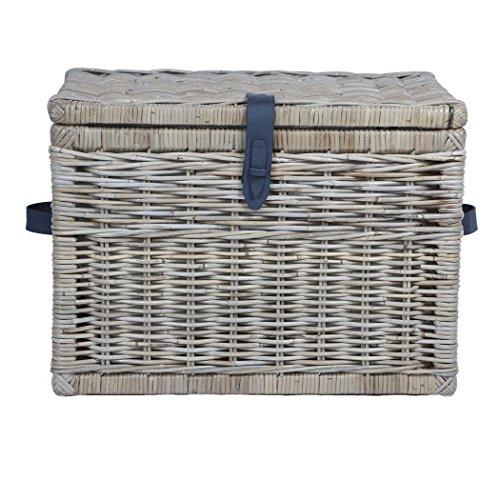 The Basket Lady Deep Wicker Storage Trunk, Large, 24 in L x 17 in W x 17.5 in H, Serene Grey (Wicker Trunk Large Grey Storage)