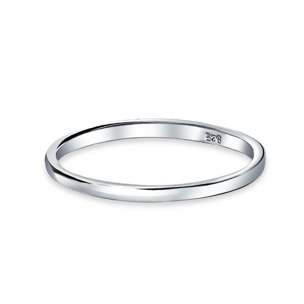 Simple Minimalist Thin Stackable 925 Sterling Silver Couples Wedding Band Rings For Men For Women 2MM