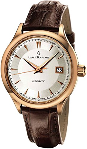 Carl F. Bucherer Manero AutoDate Men's Brown Leather Strap Rose Gold Automatic Swiss Made Watch 00.10915.03.13.01
