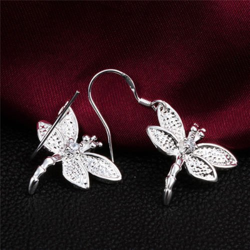 925 Silver Filled Crystal Rhinestone Dragonfly Dangle Earrings Exquisite Jewelry (Necklaces Rhinestone Earring Filled Crystal)