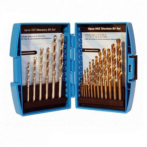 Silverline 633805 HSS Titanium and TCT Masonry Drill Bit Set of 19 Piece SLTL4