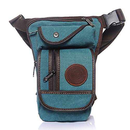 Canvas Thigh Drop Leg Bag for Men Motorcycle Rider Tactical Military Multi-pocket Waist Fanny Pack Mens Travel Hiking Climbing Cycling Outdoors Green