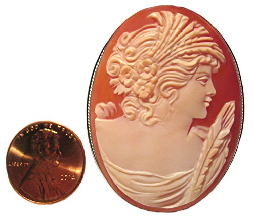 Cameo Brooch Pendant Autumn Love Italian Carnelian Shell Master Carved, Sterling Silver by cameosRus (Image #4)
