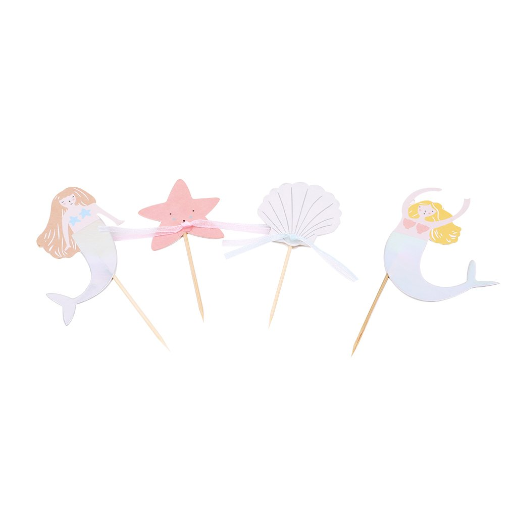 GUAngqi 24PCS Theme Cupcake Toppers for Baby Shower Birthday Party for Mermaid Themed Party