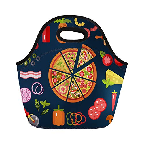 - Tinmun Lunch Tote Bag Slices of Pizza Margherita Pepperoni Cheese Marinara Seafood Hawaiian Reusable Neoprene Bags Insulated Thermal Picnic Handbag for Women Men