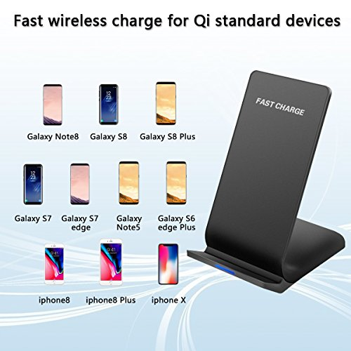 Wireless Charger, Wireless Charging Pad for iPhone X, IPhone 8 / 8 Plus Fast Wireless Charge for Samsung Galaxy S8 / S8 Plus / S7 / Note 8 Amysen