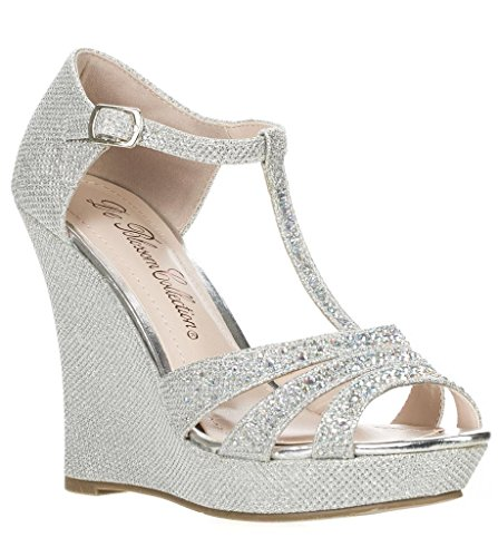 Glitter Sandal Silver Rhinestone Strap Dressy 2 Wedge Platform Deblossom T Womens Aalle FwqE8E