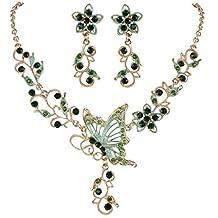 EleQueen Women's Austrian Crystal Butterfly Flower Leaf Necklace Earrings Set