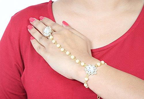 Silver Panja ne Wear Indiens Kundan et Golden Main Perle Main Panja Gauche Party Hp Stone Cha amp; Bollywood Bijoux 110 Droite Bracelet wOzpz4