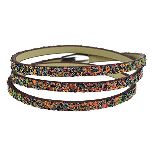 maiconfrog Bracelets for Women -Fashion Bohemian Leather Bracelets Unisex Accessories Magnet Buckle Wristband Strand Bracelet Bangles for Men Women - Brownish Red