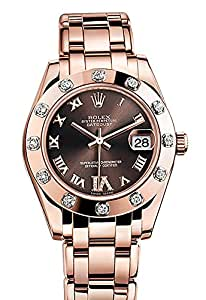 Rolex Pearlmaster 34 Chocolate set with diamonds Diamonds Set On VI Dial Pearlmaster 18K Rose Gold Watch 81315