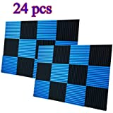 "24 Pack Charcoal Acoustic Foam Panels 1"" X 12"" X 12"" Soundproofing Studio Foam Wedge Tiles Fireproof (24 PCS, Black&Blue)"