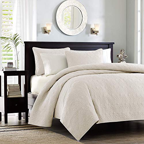Madison Park Quebec Coverlet Quilted Cotton Fill Mini Set, King/Cal King, Ivory (Renewed)