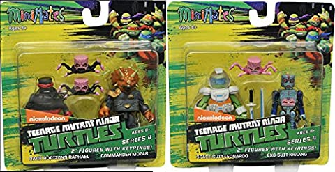 Comic Heroes Marvel Minimates Teenage Mutant Ninja Turtles 2 Series 4 2 inch Mini Figure - Dark Horizons Raphael and Commander Mozar + Space Suit Lenonardo and Exo- Suit (Marvel Minimate Black Widow)