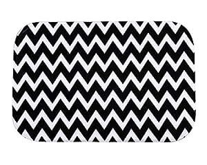 xlingers Wave patrón blanco y negro interior/exterior salón cocina alfombras alfombra lavable a máquina antideslizante de 60cm (L) X 40cm (W)