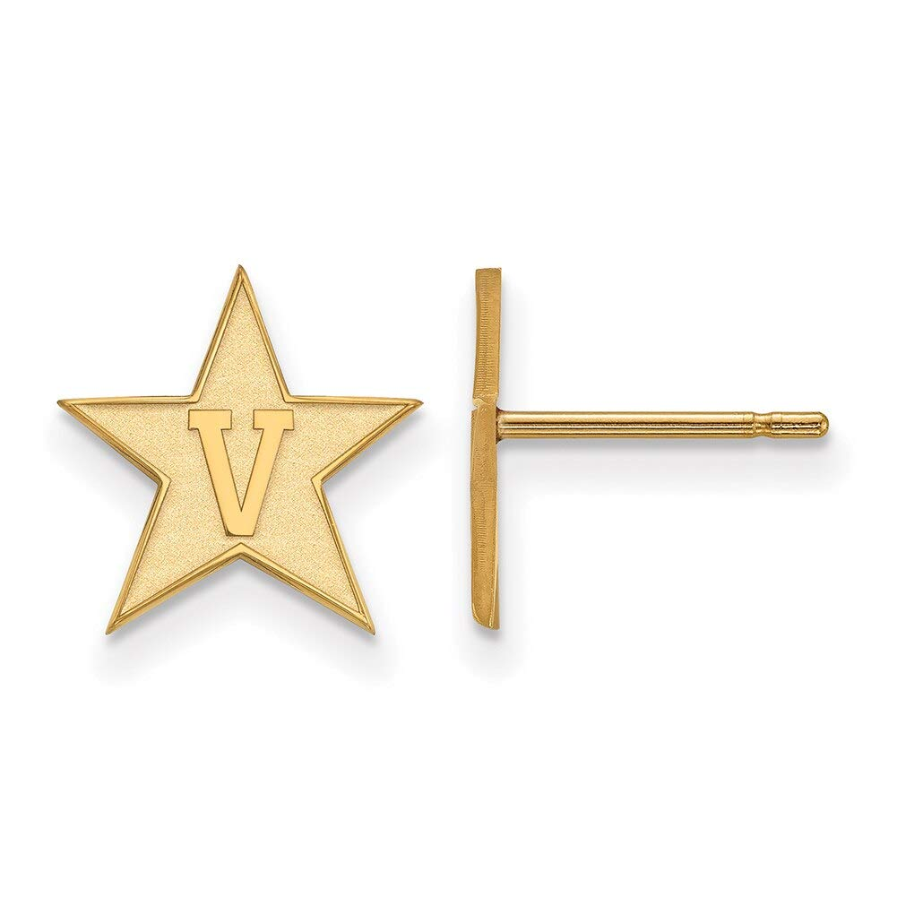 Lex /& Lu LogoArt 10k Yellow Gold Vanderbilt University Small Post Earrings