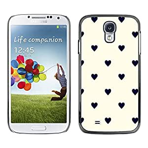 Paccase / SLIM PC / Aliminium Casa Carcasa Funda Case Cover - Dot Heart Pattern Black Beige - Samsung Galaxy S4 I9500