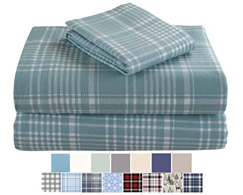 Morgan Home Fashions Cotton Turkish Flannel Sheets 100% Brushed Cotton for Supreme Comfort - Deep Pockets - Warm and Cozy, Great for All Seasons (REO Plaid, Twin)