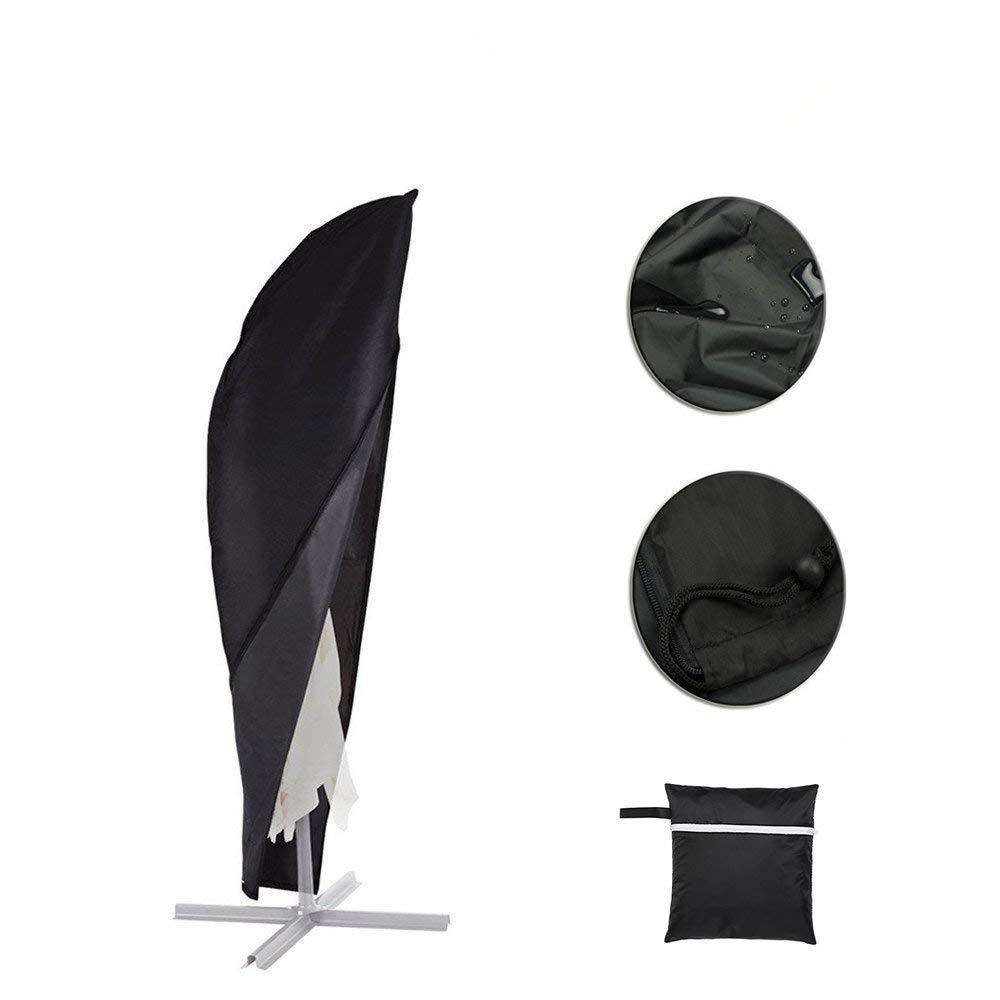 Color You Garden Parasol Cover, Waterproof Cantilever Parasol Umbrella Cover, Outdoor Patio Umbrella Protector with Zip, 210D Oxford Fabric, 265CM - Black