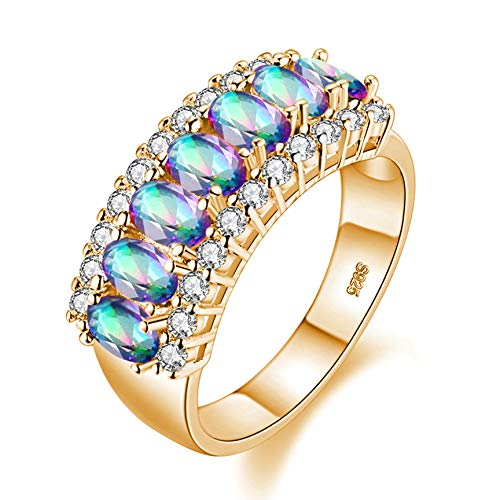 Uloveido 18K Gold Plated Oval Cut Cubic Zirconia Eternity Band Ring Multicolor 7 Stones Wedding Engagement Rings for Women Girls (Size 6, Rainbow) J501