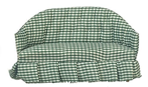 Melody Jane Dollhouse Green Gingham Sofa Miniature Country Style Living Room ()