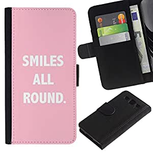 SAMSUNG Galaxy S3 III / i9300 / i747 Modelo colorido cuero carpeta tirón caso cubierta piel Holster Funda protección - Smiles All Round Text Quote Pink White
