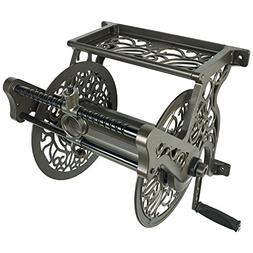 Liberty Garden 707 Decorative Wall Mount Garden Guide Hose Reel, Bronze (Best Wall Mounted Hose Reel)