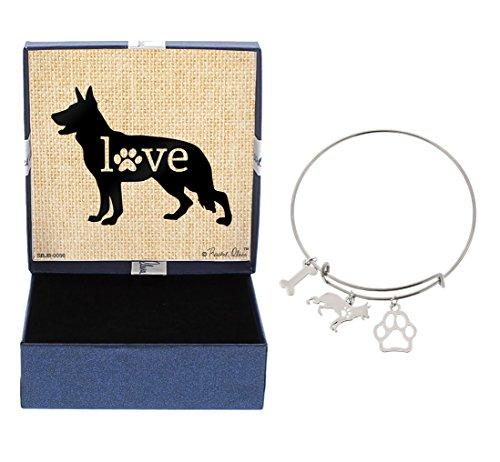 Shepherd German Dog Charm (German Shepherd Bracelet Gift Love Dog Breed Adjustable Bangle Charm Silver-Tone Bracelet Gift German Shepherd Owner Jewelry Box Keepsake)