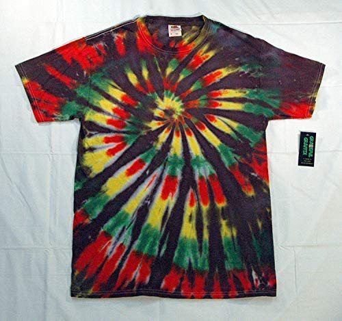 b477127bd98a6 Amazon.com: Adult Tie-Dye T-Shirt - Black Rasta Reggae Spiral - 100 ...