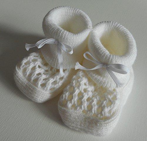 Par de patucos para bebé, recién nacidos, color rosa, crema, azul o blanco ROSE Talla:nouveau-ne blanco