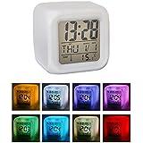 7 couleurs changeantes LED Reveil cube lumineux LCD Horloge veilleuse